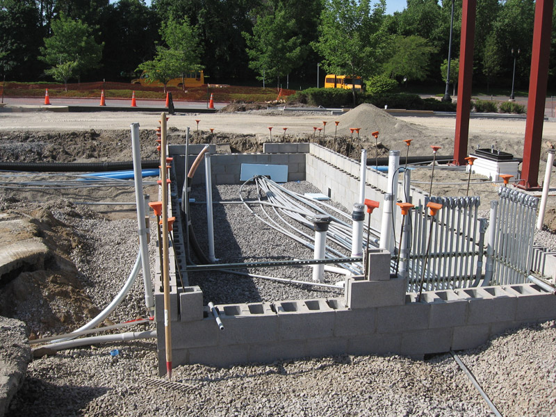 Building conduit and plumbing roughed in