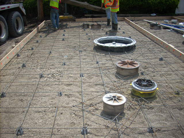 Tank mat with rebar, ready for concrete